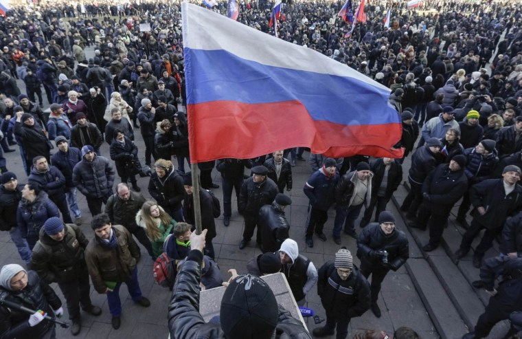 Image: Pro-Russian demonstrators attend a rally in Donetsk