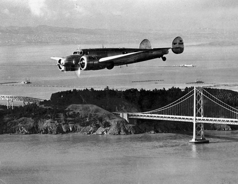 Amelia Earhart's plane takes a test flight before departing Oakland Airport in Oakland, Calif., on March 14, 1937,  on her fatal around the world flight.  Linda Finch of San Antonio, Texas, will try to complete Amelia Earhart s failed flight when she takes off Monday in a plane that is nearly identical to the one that disappeared with the aviation legend 60 years ago. (AP Photo/Oakland Tribune)