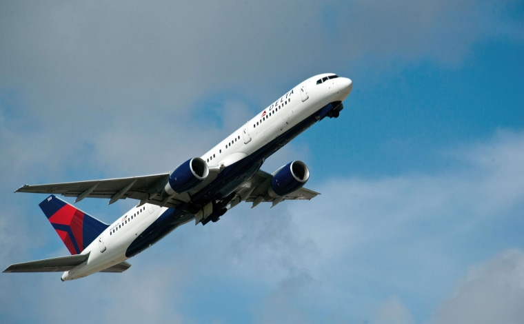 A Delta Airlines jet takes off from Fort Lauderdale-Hollywood International Airport in this February 21, 2013 file photo in Ft. Lauderdale, Florida.