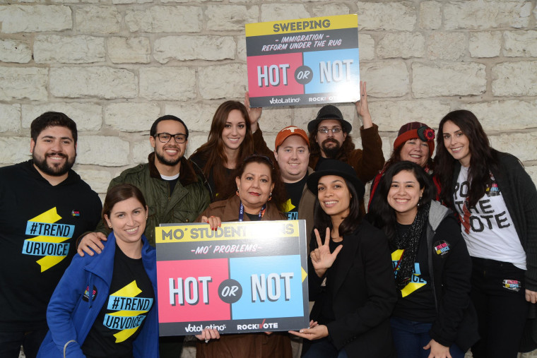 Voto Latino chairwoman and actress Rosario Dawson, second from right in bottom row, helped launch TrendUrVoice, a new online voter registration campaign unveiled at SXSW in Austin, Texas. The campaign is being spearheaded by Voto Latino and Rock the Vote.