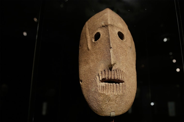 Image: A 9,000 year-old mask is on display at the Israel Museum in Jerusalem