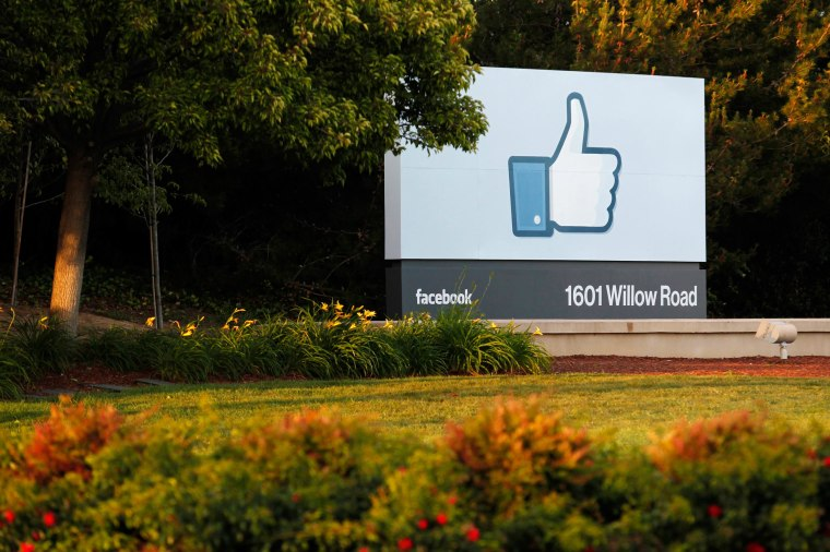 Image: The entrance sign at Facebook's headquarters in Menlo Park, Calif.