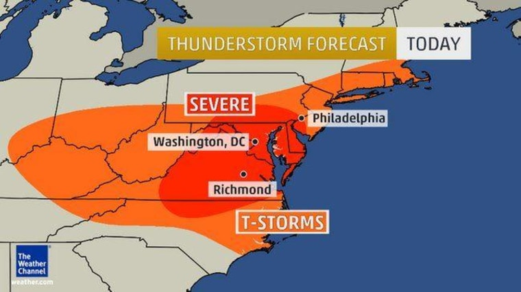 Graphic of thunderstorms threatening the Eastern United States.