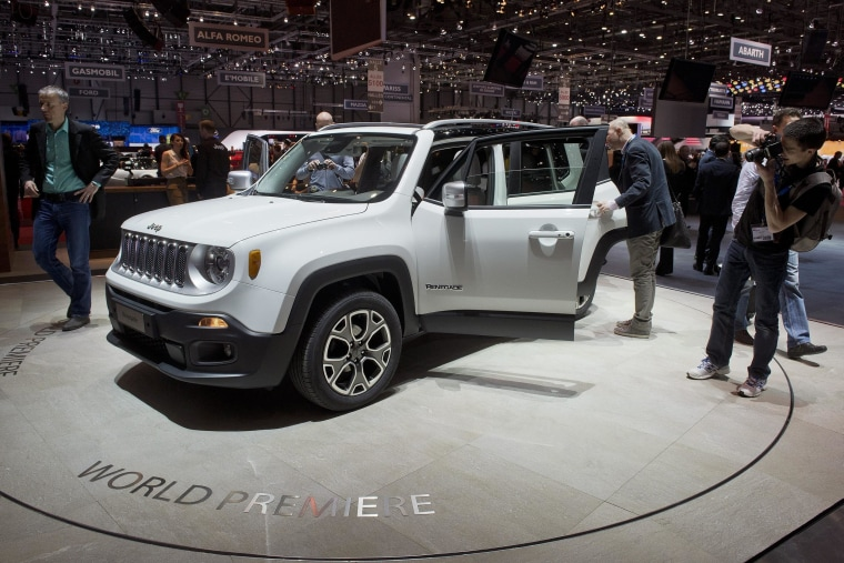The new Jeep Renegade debuts at the Geneva International Motor Show on March 4, 2014.