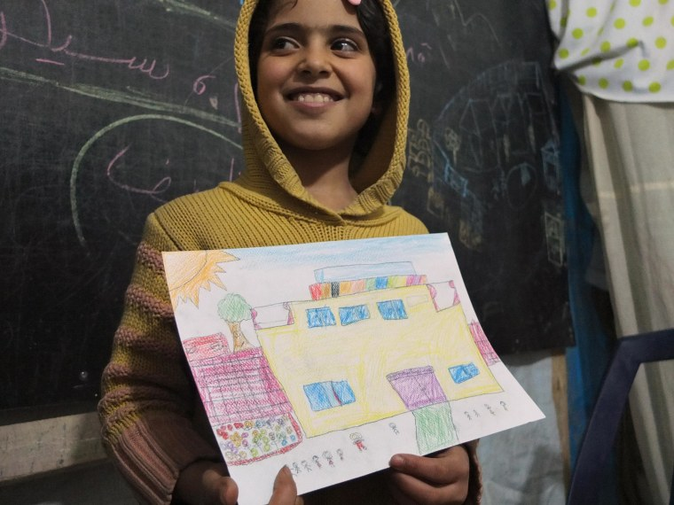 Syrian Children Draw Their Dreams at School in Refugee Camp