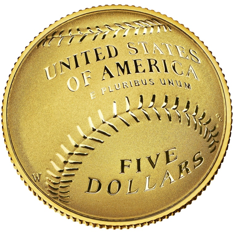 This undated photo released by the U.S. Mint shows one side of the gold $5 National Baseball Hall of Fame coin.