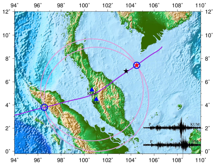 "A map of a ""seismic event"" consistent with an airplane crash on the sea floor close to where missing Malaysia Airlines jet lost contact with air traffic control was released by Chinese scientists on Friday. The black star indicates where the plane lost contact, the red star where the event was detected and the blue triangles show the locations of seismic monitors. The black waves on the bottom right of the map show recording of the tremors."
