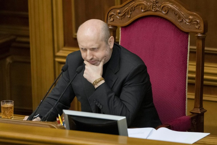 Image: Ukraine's acting President Turchinov attends a parliament session in Kiev