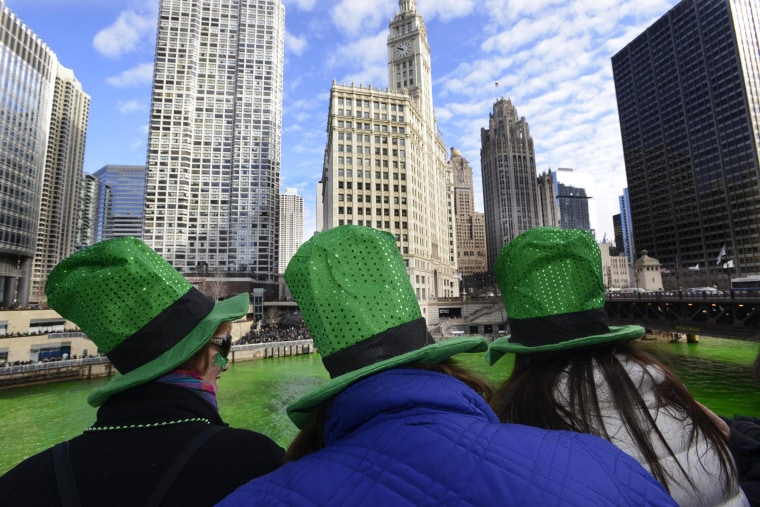 Image: The Chicago River being dyed green ahead of the St. Patrick's Day parade in Chicago