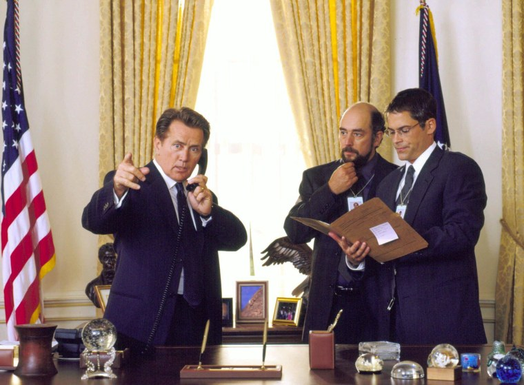 "Image: Martin Sheen, left, as President Josiah Bartlet in ""The West Wing""."