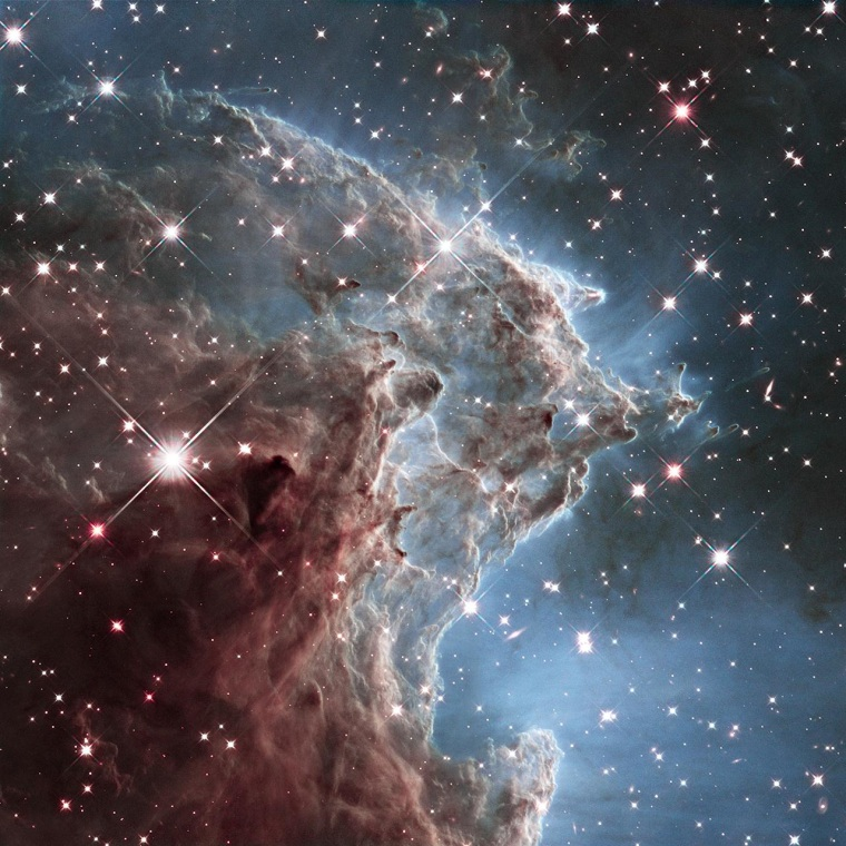 This composite infrared image shows a small section of the Monkey Head Nebula, as seen by the Hubble Space Telescope's Wide Field Camera 3 during a series of exposures in February 2014.
