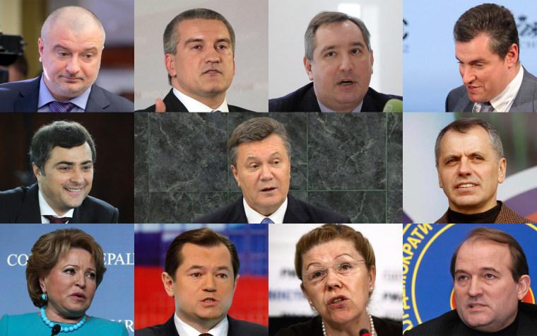 Image: Former Ukrainian President Viktor Yanukovych is among 11 individuals who are being sanctioned by the U.S. in response to Crimea's referendum. Also sanctioned, clockwise from top left: Andrei Klishas,  Sergey Aksyonov, Dmitry Rogozin, Leonid Slutsky
