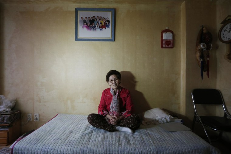 Choi Jung-sook, 84, who was one of the participants in the latest inter-Korean reunion for families separated by the 1950-53 Korean War, poses at her house in Namyangju on March 11.
