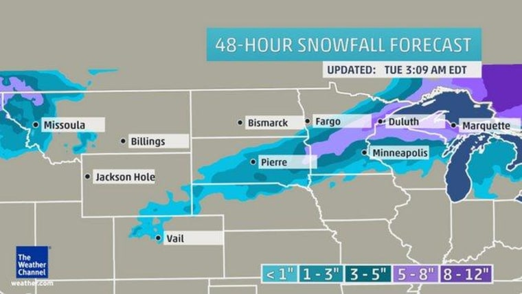 The Wealther Channel's 48-hour forecast of snow across the Great Plains and Midwest.