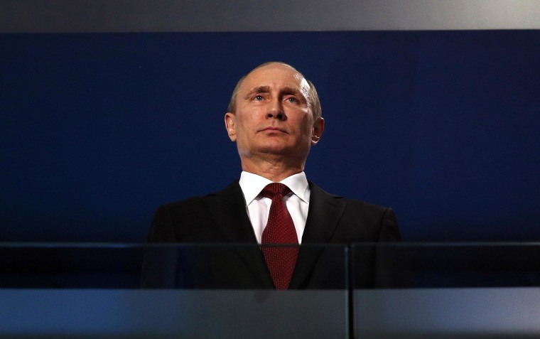 Image: Russian President Vladimir Putin during the closing ceremony of the Sochi 2014 Paralympic Winter Games