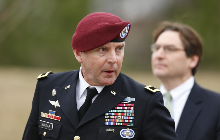 Image: U.S. Army Brigadier General Jeffrey Sinclair leaves the courthouse
