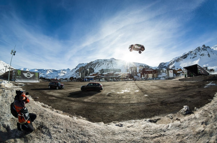 French rally driver Guerlain Chicherit attempted the Guinness World Record for the longest car jump on Tuesday in Tignes, France but crashed in the process.
