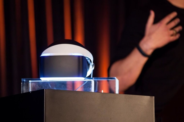 """The """"Project Morpheus"""" device on display at the press conference in San Francisco."""