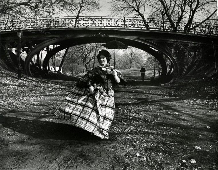 Image: Editta Sherman poses in period costume in front of the Gothic Bridge in Central Park
