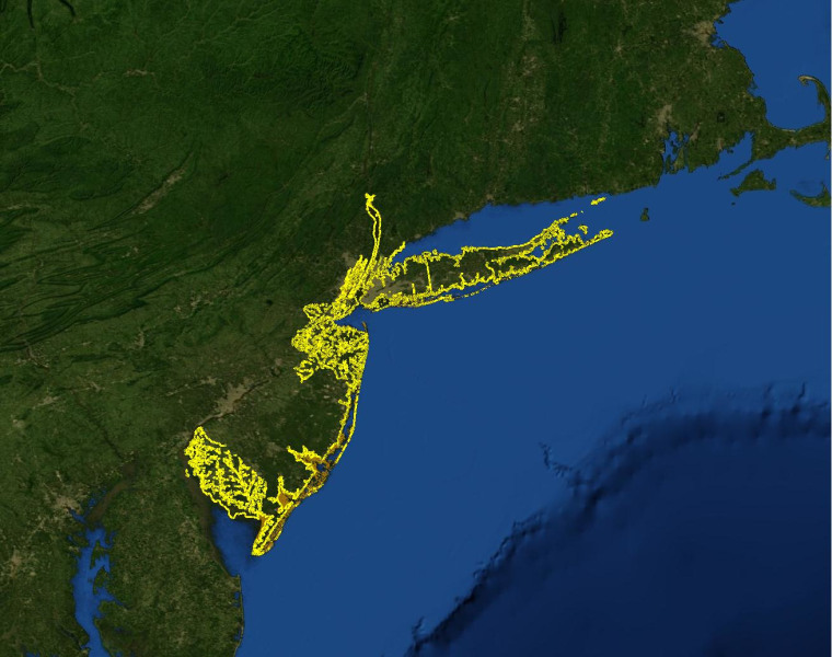 Image: A map of future sea level rise and recent special flood hazard areas for New York City.