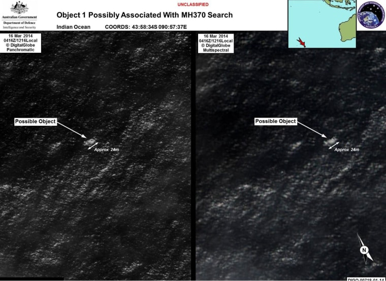 Image: Object 1 that is possibly associated with the missing flight MH370 search