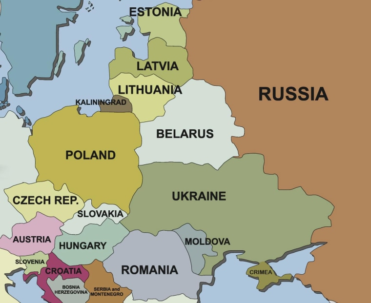 Map of Ukraine and surrounding countries