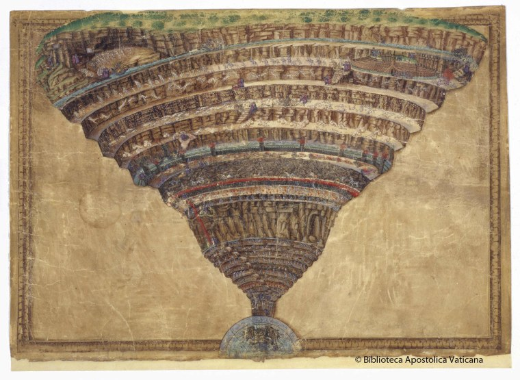 An illustration of the Dante's Divina Commedia realized by artist Sandro Botticelli in the XV century is seen at the Vatican in this March 20, 2014 handout released by Biblioteca Apostolica Vaticana (Vatican Apostolic Library). The Vatican library launched a four-year project on Thursday with Japanese technology group NTT Data to digitalise 82,000 manuscripts ranging from the origins of the Church to the 20th century. The Vatican library, dating back to the late 14th century, holds one of the most important collections of historical documents in the world, including 1.6 million books, large coin and picture collections as well as its manuscript archives.