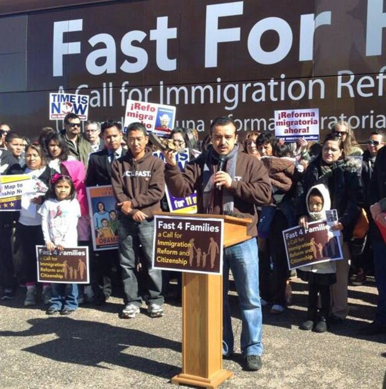 Rudy Lopez, political director of the Center for Community Change, in a Fast for Families rally during the group's bus tour on March 12, 2014.