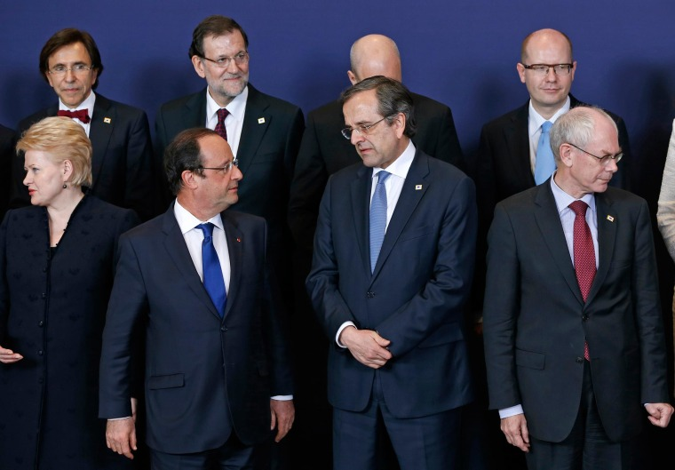 Image: EU leaders take part in a family photo at a European Union leaders summit in Brussels