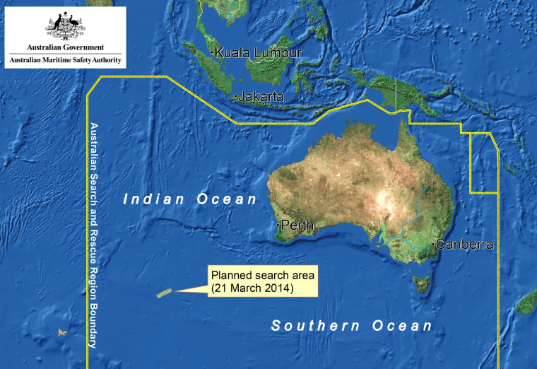 Image: A map shows the planned search area for March 21 for the missing Malaysia Airlines flight  MH370.