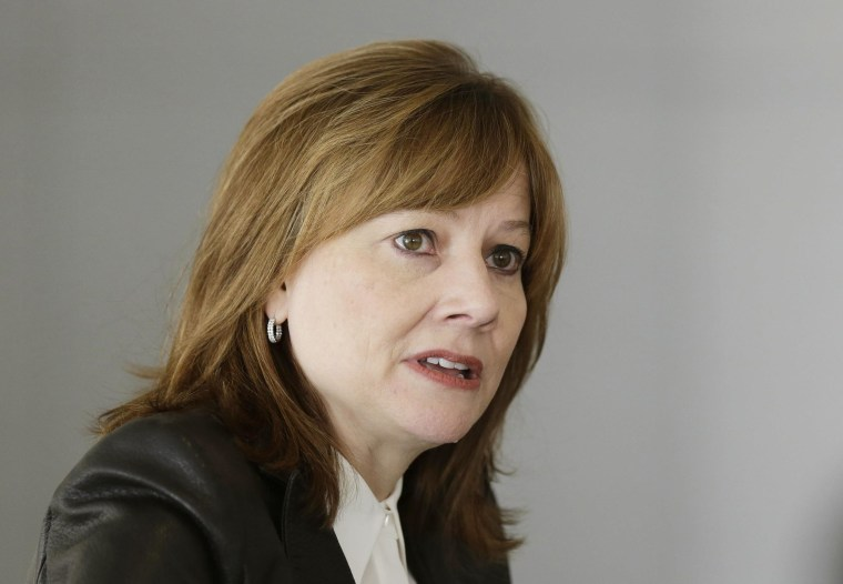 Image: General Motors Co's new chief executive Mary Barra addresses the media during a roundtable meeting with journalists in Detroit in this file photo