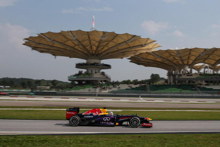 Sebastian Vettel of Infiniti Red Bull Racing during  Round 2 at Sepang International Circuit, Kuala Lumpur, Malaysia on March 23.
