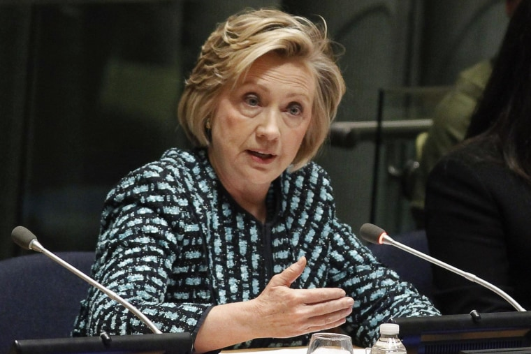 Image: Former U.S. Secretary of State Clinton speaks during an International Women's Day event in New York