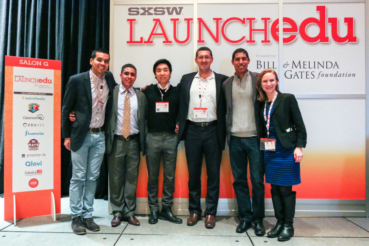 Harlyn Pacheco, Gilberto Colchado, Stephen Ahn, Emanuel Pleitez, Ricardo Rodriguez and Shira Schindel during LAUNCHedu at SXSWedu 2014 in Austin, Texas.