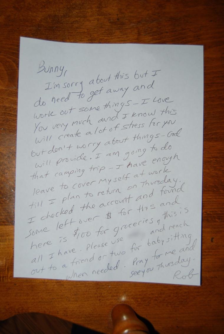 Rob Taglianetti's note to his wife
