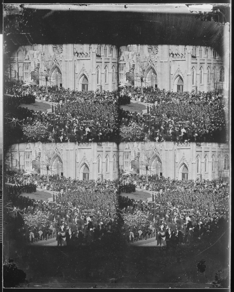 Image: A Maryland man claims this photo from the National Archives may be of Lincoln's funeral procession in 1865 in New York City.