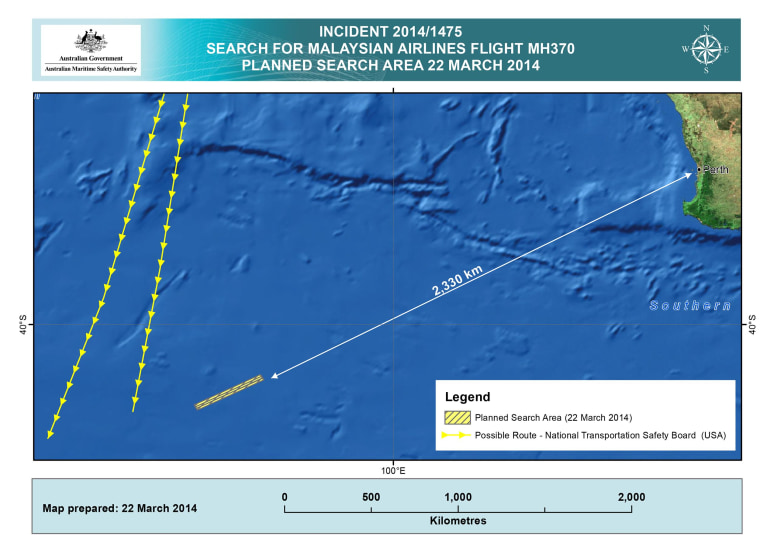 Image: A chart detailing the search area for Malaysian Airlines flight MH370 on March 21