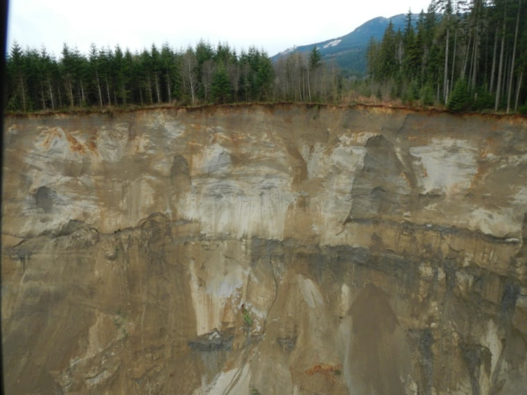 Image: Aerial photo of hillside that collapsed in Washington state