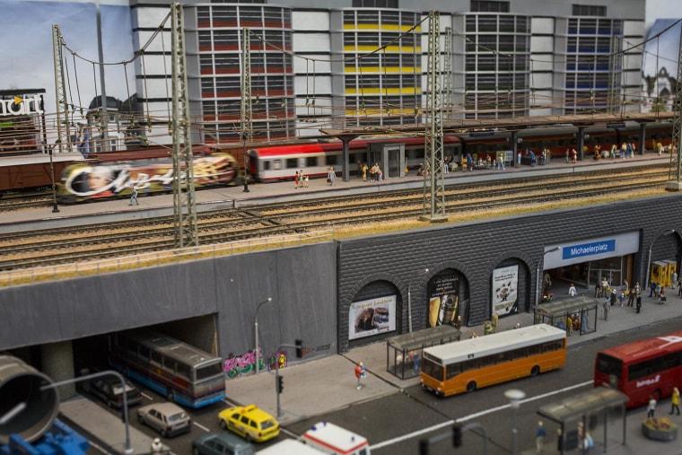 "Image: A large model railway layout of Austrian influence titled ""Michaelerplatz"""