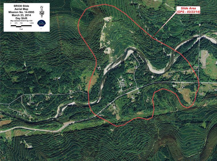 Aerial Map of Snohomish landslide area.