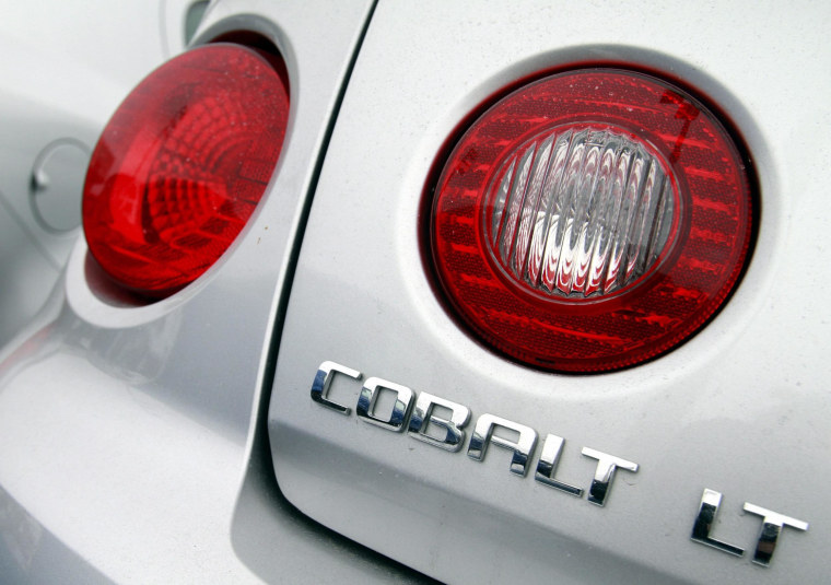 A Chevrolet Cobalt, one of 2.6 million cars recalled by General Motors over faulty ignition switches.