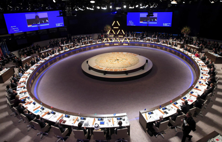 World leaders attend the opening session of the Nuclear Security summit (NSS) in The Hague on March 24. The Nuclear Security Summit on March 24-25, aimed at preventing nuclear terrorism, will bring together several world leaders.