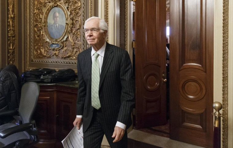Sen. Thad Cochran, R-Miss., leaves a closed-door GOP caucus luncheon at the Capitol in Washington, Jan. 14, 2014.