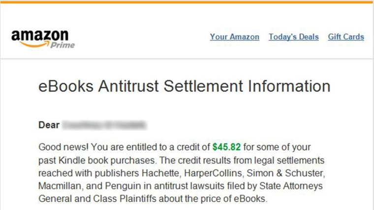Amazon sent emails to customers who are eligible for a new e-book refund.