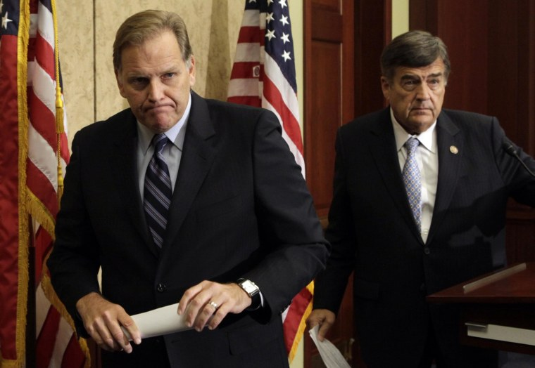 Image: Reps. Mike Rogers and Dutch Ruppersberger hold a news conference on Huawei and ZTE in Washington