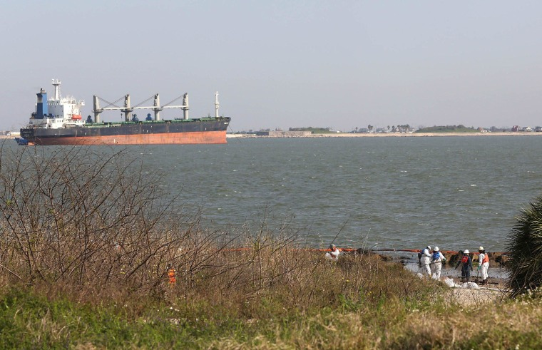 Image: Cleanup Continues For Oil Spill In Crucial Houston Ship Channel