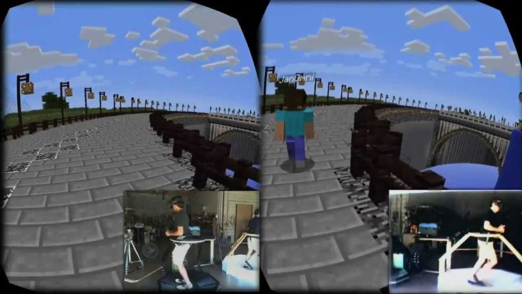 """A version of Minecraft was made to run on an earlier version of Oculus' device and combined with Virtuix's """"virtual reality treadmill."""""""