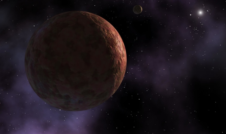 "An artist's conception shows the icy world Sedna with a moon. Another Sedna-like object has now been detected, suggesting that there could be a substantial population of ""inner Oort cloud objects"" on the solar system's rim."