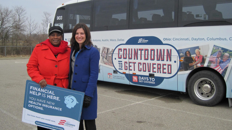 From left, Marjorie Mosely, organizer in Cincinnati for Enroll America/Get Covered America and Anne Filipic, president of Enroll America