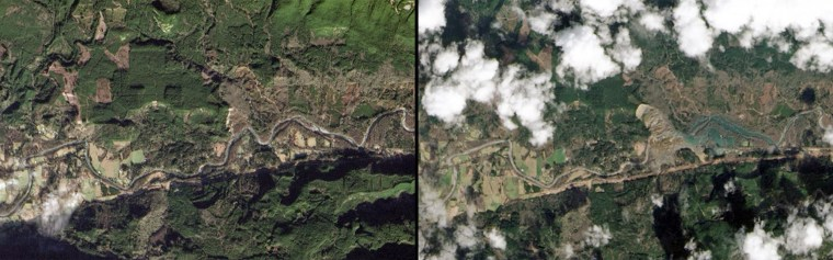 This combination of images provided by NASA shows the Oso, Wash. area on Jan. 18, left, and the same area on March 23, right, after a March 22 landslide sent muddy debris spilling across the North Fork of the Stillaguamish River.